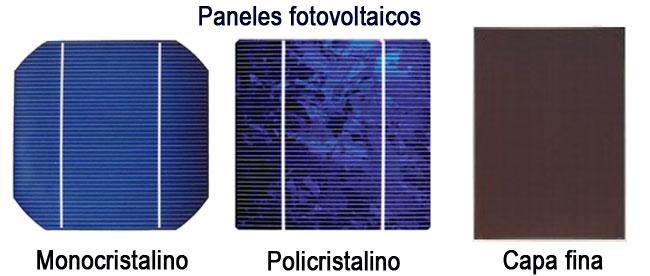 tipos paneles fotovoltaicos